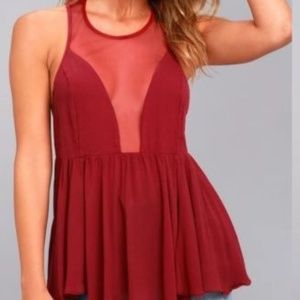Intimately Free People Red Mesh Marble Cami Top